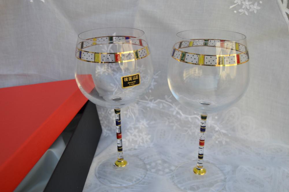 Juego copas vino for Copas decoradas a mano